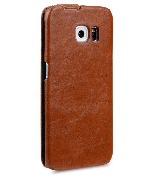 Melkco Mini PU Cases Jacka Type for Samsung Galaxy S6 Edge - Brown PU