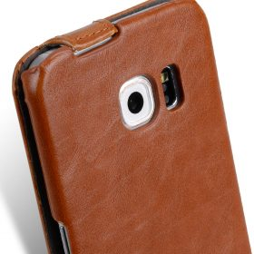 Melkco Mini PU Cases Jacka Type for Samsung Galaxy S6 Edge – Brown PU