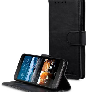 Melkco Mini PU Leather Case for HTC M9 Plus - Wallet-Stand Book Type (Black CH)