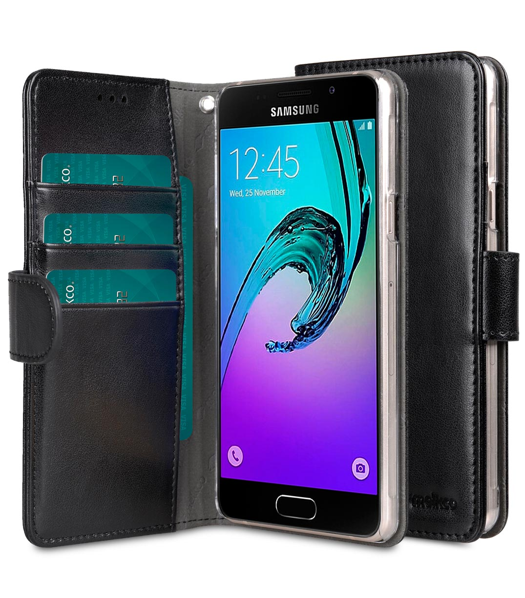 low priced b153d eb57d PU leather case for New Samsung Galaxy A5 (2016) – Wallet Book Clear Type  (Black PU)