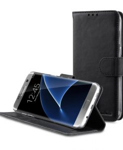 Melkco Mini PU Leather Case For Samsung Galaxy S7 Edge - Wallet Book Type With Stand Function (Classic Vintage Black PU)