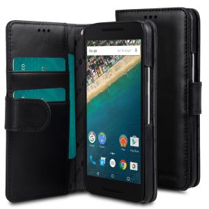 Melkco Premium Genuine Leather Case For LG Nexus 5X - Wallet Book Type (Traditional Vintage Black)
