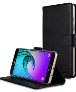 Melkco Premium Genuine Leather Case For Samsung Galaxy A9 Pro (2016) - Wallet Book Type With Stand Function (Traditional Vintage Black)