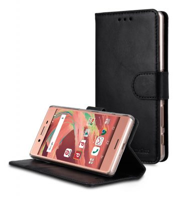 Melkco Premium Genuine Leather Case For Sony Xperia X Performance - Wallet Book Type With Stand Function (Traditional Vintage Black)