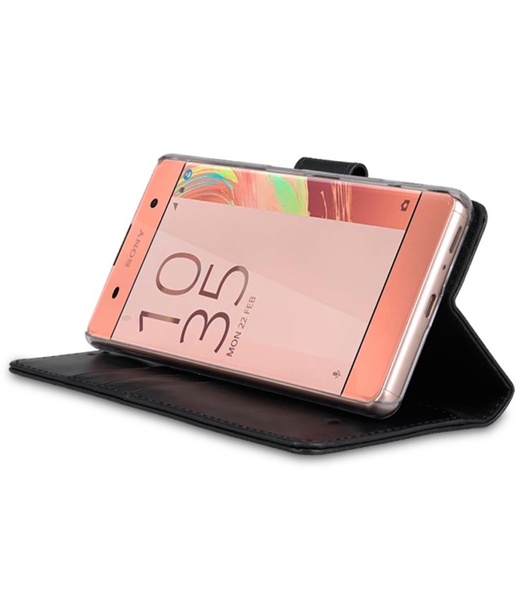 Melkco Premium Genuine Leather Case For Sony Xperia XA - Wallet Book Type With Stand Function (Traditional Vintage Black)