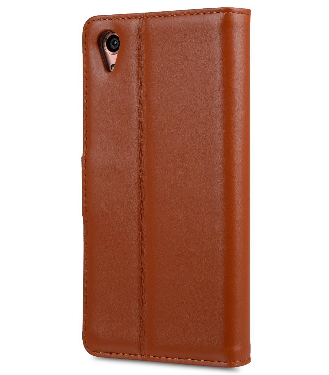 Melkco Premium Genuine Leather Case For Sony Xperia XA - Wallet Book Type With Stand Function (Traditional Vintage Brown)