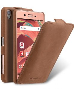 Melkco Premium Genuine Leather Jacka Type Case For Sony Xperia X Performance - Classic Vintage Brown