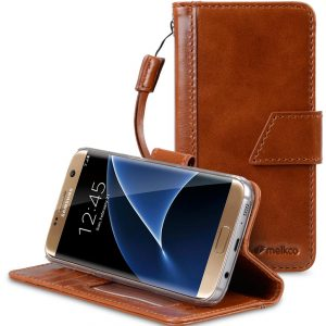 Melkco Premium Italian Genuine Leather Kingston Style Case For Samsung Galaxy S7 - Brown Wax