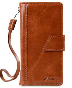 Melkco Premium Italian Genuine Leather Kingston Style Case For Sony Xperia X Performance - Brown Wax