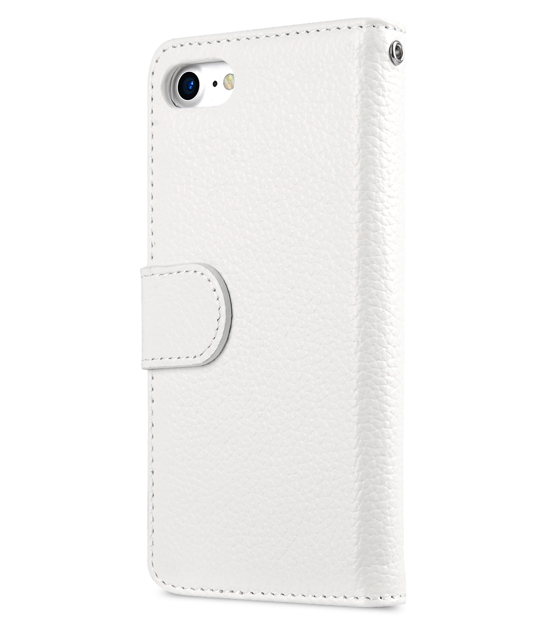"""Melkco Premium Leather Case for Apple iPhone 7 / 8 (4.7"""") - Wallet Book ID Slot Type (White LC)"""