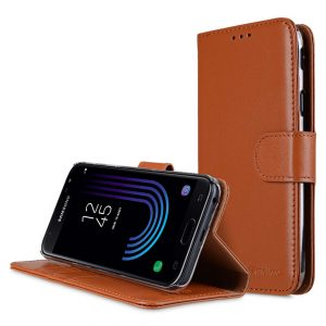 Premium Leather Case for Samsung Galaxy J7 (2017) - Wallet Book Clear Type Stand