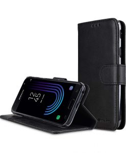 Melkco Premium Leather Case for Samsung Galaxy J7 (2017) - Wallet Book Clear Type Stand ( Vintage Black )