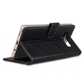 Melkco Premium Leather Case for Samsung Galaxy Note 8 – Wallet Book Clear Type Stand (Black LC)