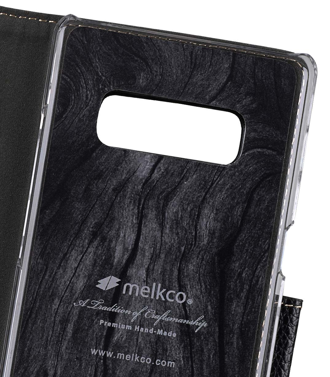 Melkco Premium Leather Case for Samsung Galaxy Note 8 - Wallet Book Clear Type Stand (Black LC)