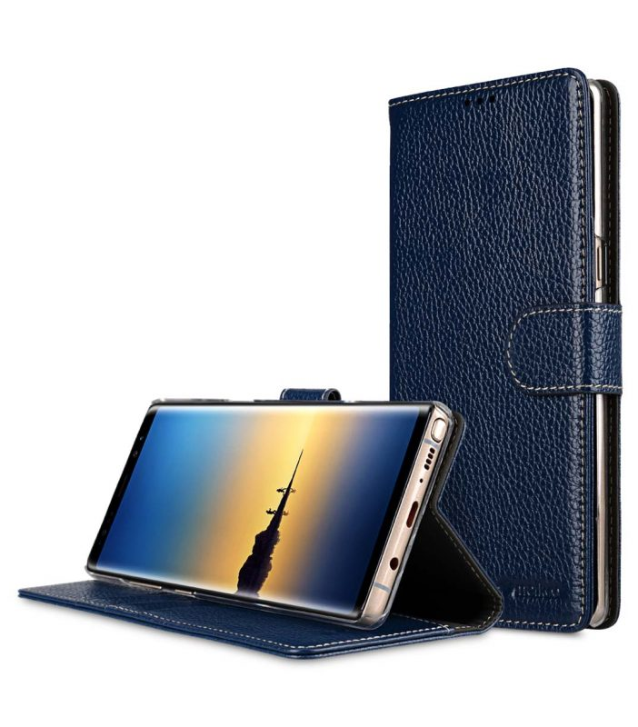 Melkco Premium Leather Case for Samsung Galaxy Note 8 - Wallet Book Clear Type Stand (Dark Blue LC)
