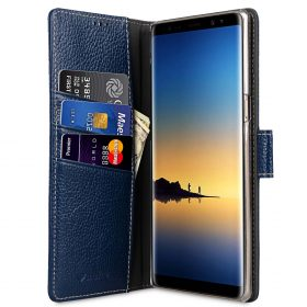Melkco Premium Leather Case for Samsung Galaxy Note 8 – Wallet Book Clear Type Stand (Dark Blue LC)
