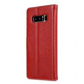 Melkco Premium Leather Case for Samsung Galaxy Note 8 – Wallet Book Clear Type Stand (Red LC)