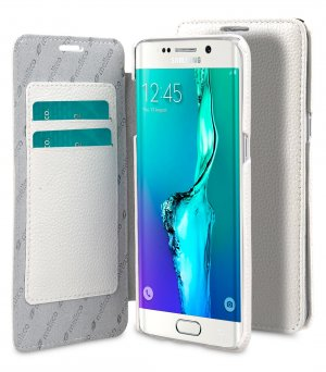Premium Leather Case for Samsung Galaxy S6 Edge Plus - Face Cover Book Type