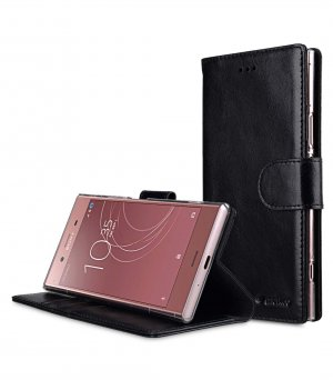 Premium Leather Case for Sony Xperia XZ1 - Wallet Book Clear Type Stand