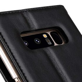 Melkco Premium Leather d Case for Samsung Galaxy Note 8 – Wallet Book Clear Type Stand (Vintage Black)