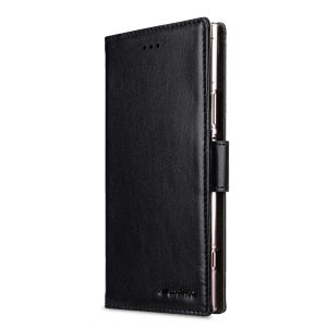 Melkco PU Leather Wallet Book Clear Type Case for Sony Xperia XZ1 - (Black PU)