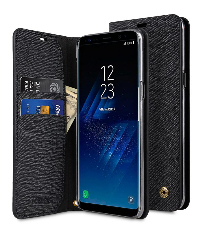 Melkco Fashion Cocktail Series Slim Flip Case for Samsung Galaxy S8 Plus (Black Cross Pattern)