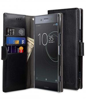 Mini PU Cases Wallet Book Clear Type for Sony Xperia XZ Premium - (Black PU)