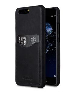 Premium Leather Case for Huawei P10 - Card Slot Back Cover (Black)Ver.2