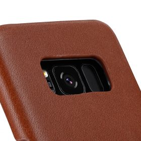 Melkco Premium Leather Case for Samsung Galaxy S8 Plus – Card Slot Back Cover V2 ( Orange Brown )