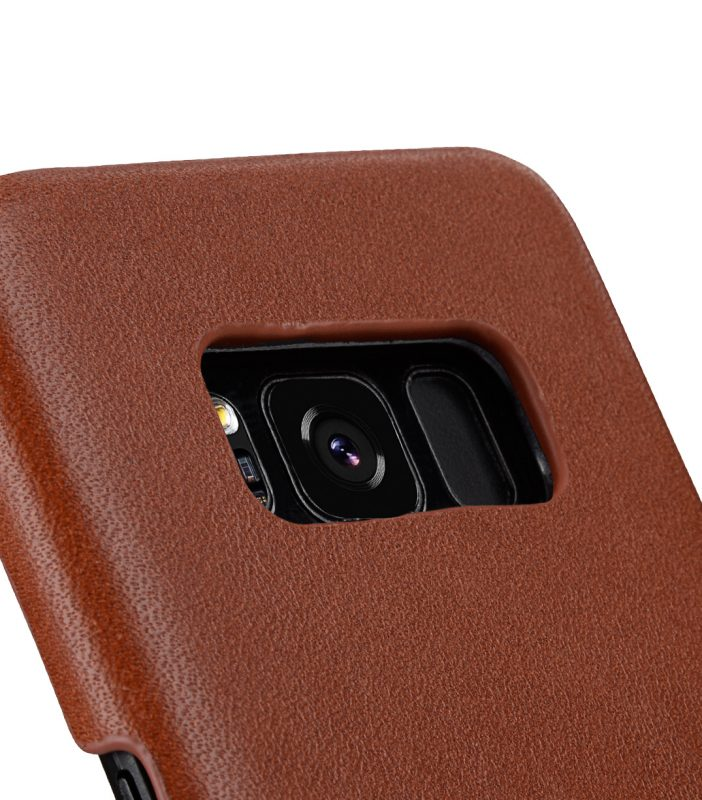 Melkco Premium Leather Case for Samsung Galaxy S8 Plus - Card Slot Back Cover V2 ( Orange Brown )