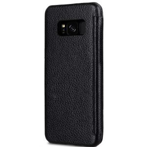 Melkco Premium Leather Case for Samsung Galaxy S8 Plus - Face Cover Book Type ( Black LC )