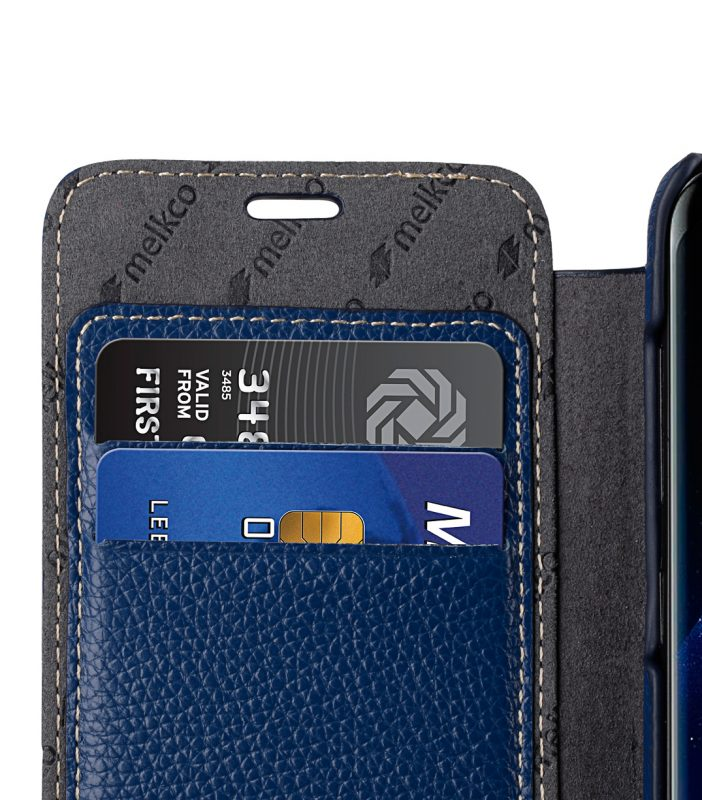 Melkco Premium Leather Case for Samsung Galaxy S8 Plus - Face Cover Book Type ( Dark Blue LC )