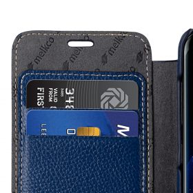 Melkco Premium Leather Case for Samsung Galaxy S8 – Face Cover Book Type ( Dark Blue LC )