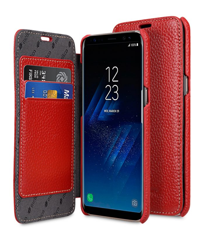 Melkco Premium Leather Case for Samsung Galaxy S8 - Face Cover Book Type ( Red LC )