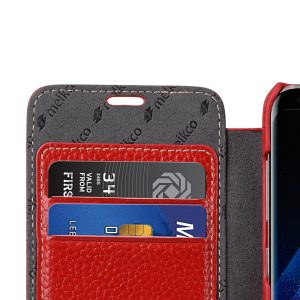 Melkco Premium Leather Case for Samsung Galaxy S8 Plus - Face Cover Book Type ( Red LC )