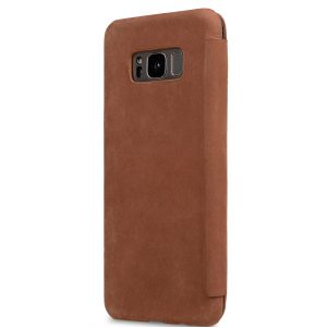 Melkco Premium Leather Case for Samsung Galaxy S8 Plus - Face Cover Book Type (Classic Vintage Brown)