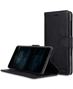 Premium Leather Case for Nokia 6 - Wallet Book Clear Type Stand (Vintage Black)