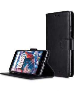 Premium Leather Case for One Plus 3 / 3T - Wallet Book Clear Type Stand (Vintage Black)