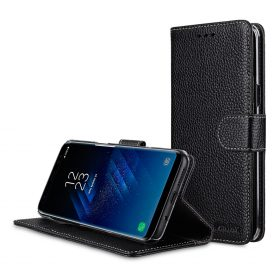 Melkco Premium Leather Case for Samsung Galaxy S8 Plus – Wallet Book Clear Type Stand ( Black LC )