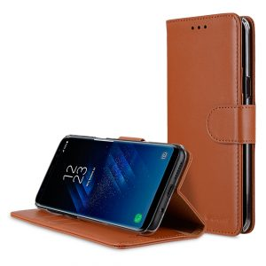 Melkco Premium Leather Case for Samsung Galaxy S8 - Wallet Book Clear Type Stand ( Brown )