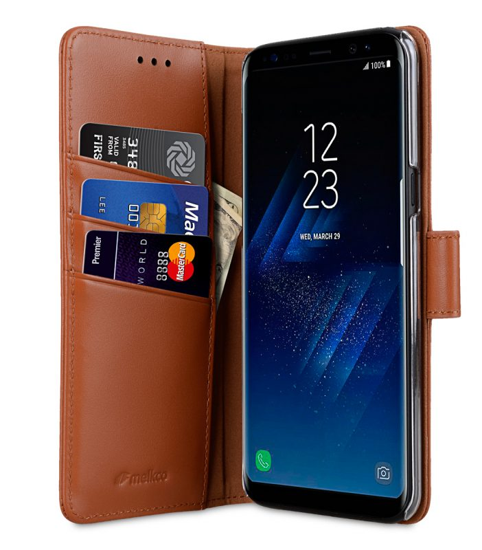 Melkco Premium Leather Case for Samsung Galaxy S8 Plus - Wallet Book Clear Type Stand ( Brown )