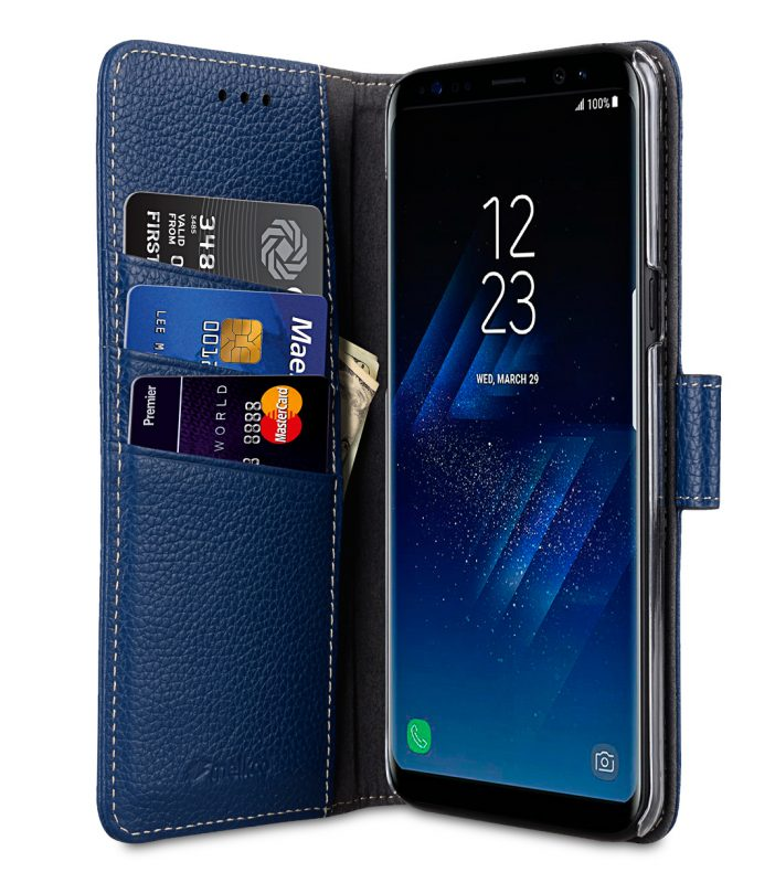 Melkco Premium Leather Case for Samsung Galaxy S8 - Wallet Book Clear Type Stand ( Dark Blue LC )