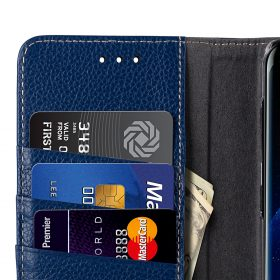 Melkco Premium Leather Case for Samsung Galaxy S8 Plus – Wallet Book Clear Type Stand ( Dark Blue LC )