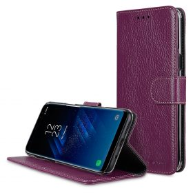 Melkco Premium Leather Case for Samsung Galaxy S8 – Wallet Book Clear Type Stand ( Purple LC )