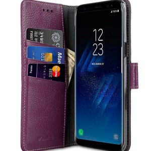 Melkco Premium Leather Case for Samsung Galaxy S8 - Wallet Book Clear Type Stand ( Purple LC )