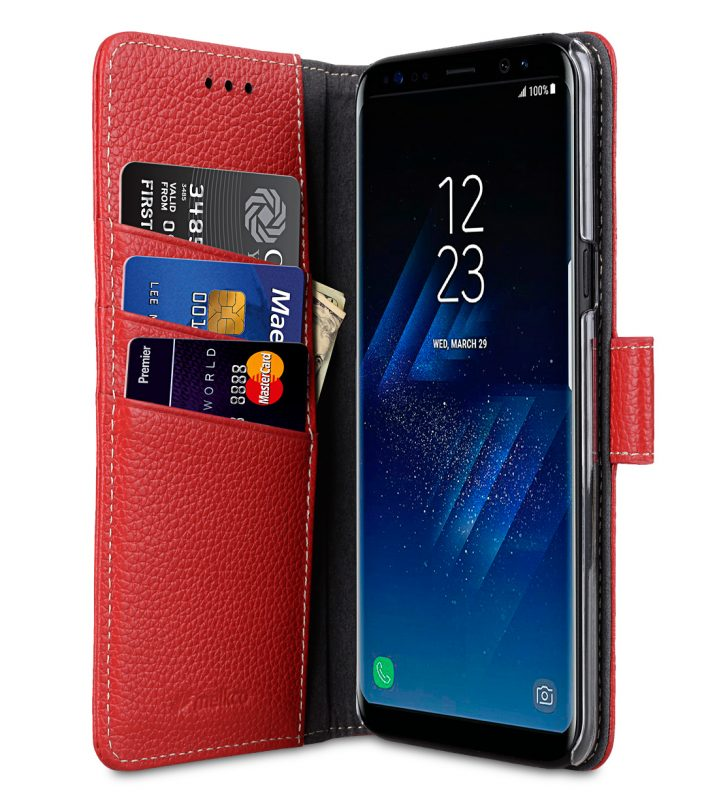 Melkco Premium Leather Case for Samsung Galaxy S8 - Wallet Book Clear Type Stand ( Red LC )
