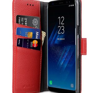 Melkco Premium Leather Case for Samsung Galaxy S8 Plus - Wallet Book Clear Type Stand ( Red LC )