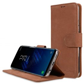 Premium Leather Case for Samsung Galaxy S8 Plus – Wallet Book Clear Type Stand (Classic Vintage Brown)