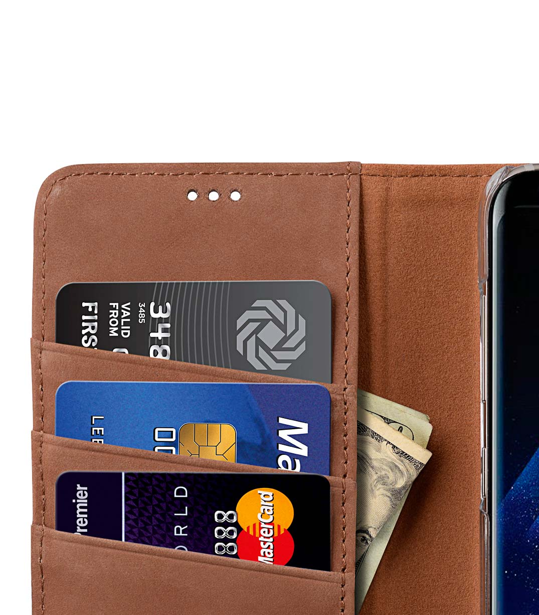 Premium Leather Case for Samsung Galaxy S8 Plus - Wallet Book Clear Type Stand (Classic Vintage Brown)