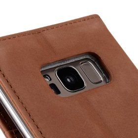 Premium Leather Case for Samsung Galaxy S8 – Wallet Book Clear Type Stand (Classic Vintage Brown)